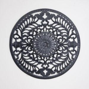 Mandala redondo de madera Decowall Round de 110x110 en negro