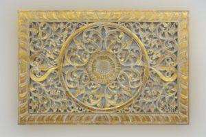 Mandala decorativo Decowall Square de 150x100 en Blanco y pan de oro