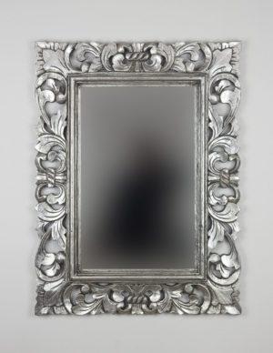 Espejo decorativo de madera Kamblung de 60x80cm en Plata ¡OFERTA!