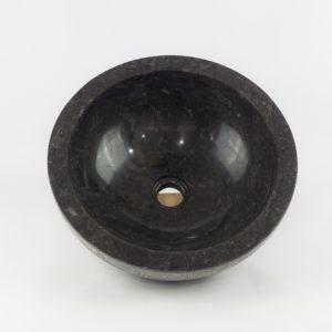 Lavabo redondo piedra negra exterior rugoso de 40x40 piezas únicas | mirococo.com