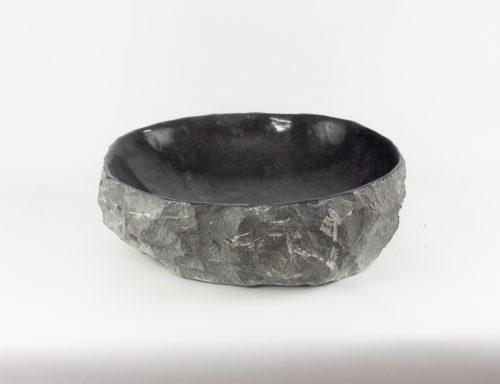 Lavabo oval de piedra negra canto fino de 40x49 piezas únicas | mirococo.com