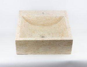 Lavabo cuadrado de mármol pulido de 45x45 | mirococo.com