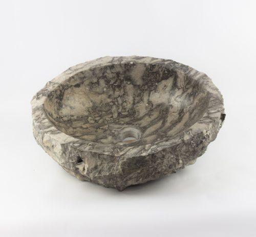 Lavabo redondo de mármol wastafel oscuro jaspeado de 52x41 piezas únicas   mirococo.com