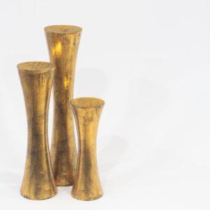 Candelabro Kalú de madera, acabado oro envejecido