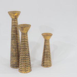 Candelabro Garis de madera, acabado oro envejecido