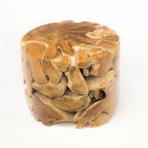 Mesa de café redonda de raíz de teca 60cm