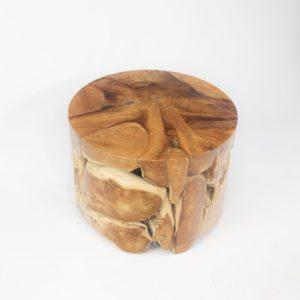 Mesa redonda de café realizada en raíz de teca 60cm