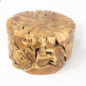 Mesa redonda de raiz de teca