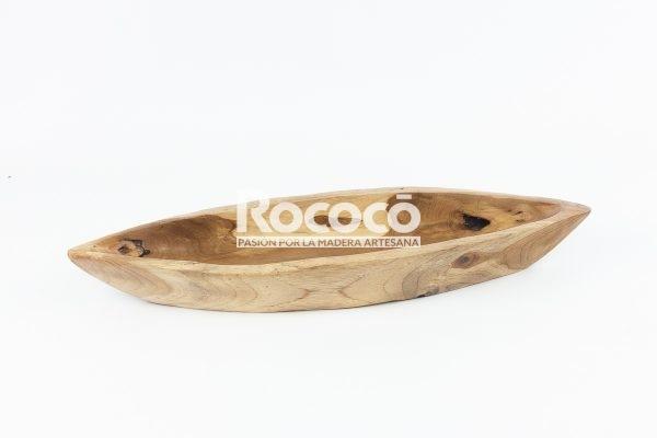 Bandeja alargada tipo barco de teca acabado natural | mirocco.com