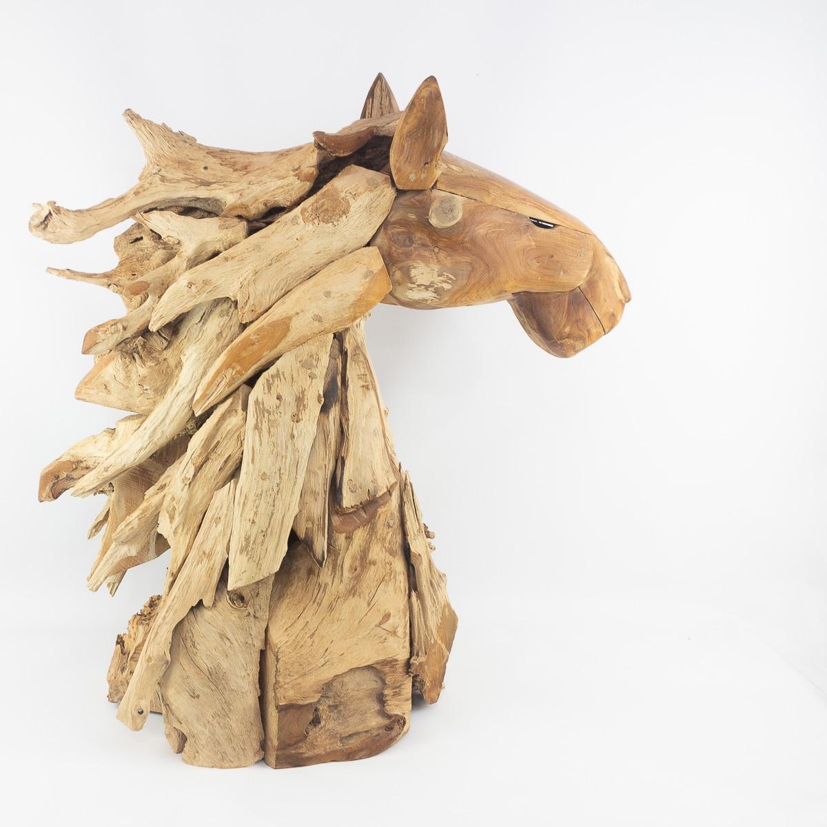 Cabeza decorativa de caballo realizada con raçices de teca | mirocco.com