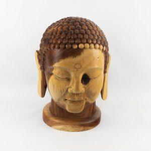Cabeza de Buda tallada en madera de Suar en una pieza | mirocco.com