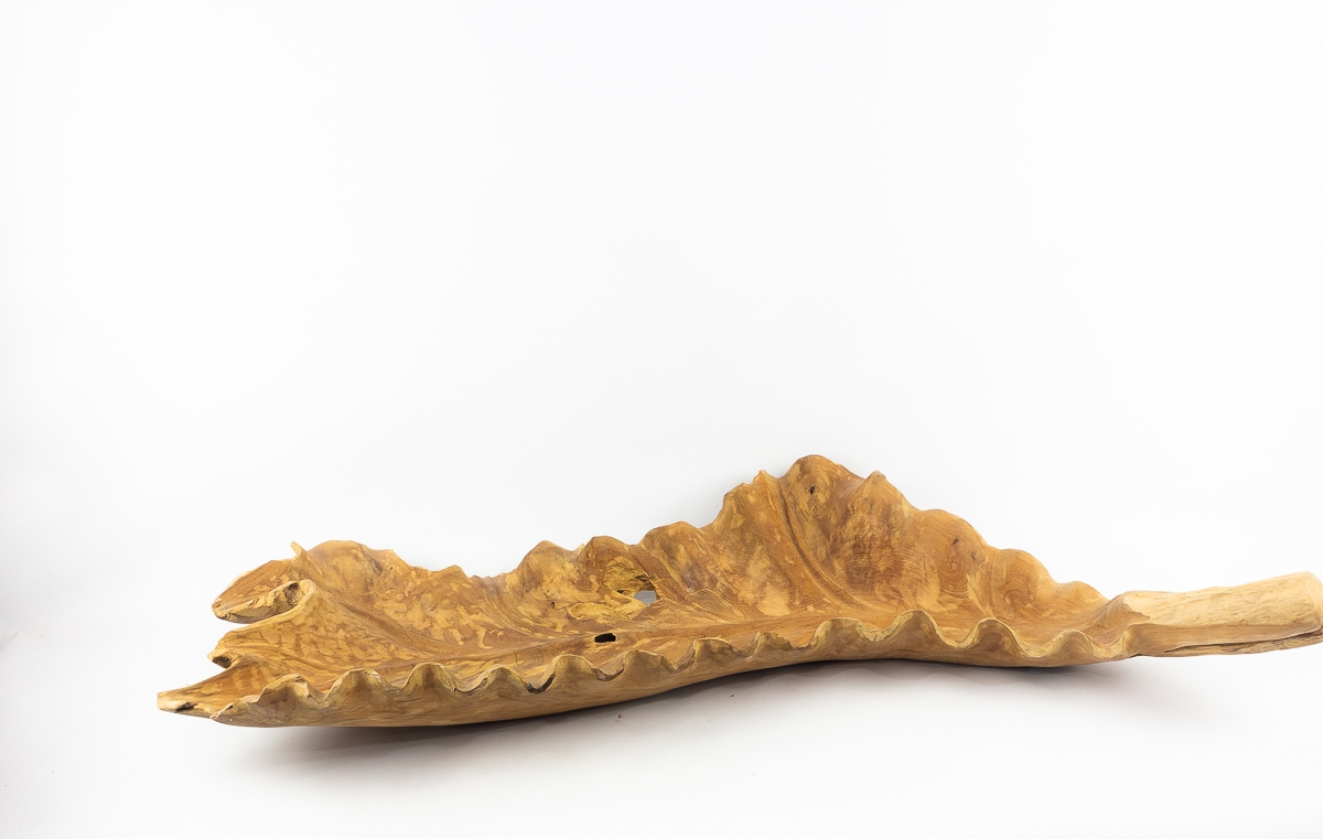 Bol hoja decorativa grande tallada en madera teca | mirocco.com