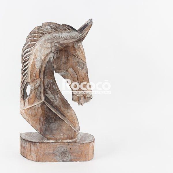 Cabeza de caballo tallada artesanalmente en madera acabado en blanco decapado | mirocco.com